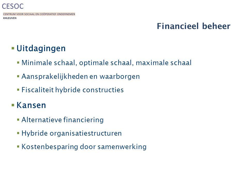 Financieel beheer  Uitdagingen  Minimale schaal, optimale schaal, maximale schaal  Aansprakelijkheden en waarborgen  Fiscaliteit hybride constructies  Kansen  Alternatieve financiering  Hybride organisatiestructuren  Kostenbesparing door samenwerking