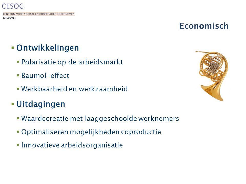 Economisch  Ontwikkelingen  Polarisatie op de arbeidsmarkt  Baumol-effect  Werkbaarheid en werkzaamheid  Uitdagingen  Waardecreatie met laaggeschoolde werknemers  Optimaliseren mogelijkheden coproductie  Innovatieve arbeidsorganisatie