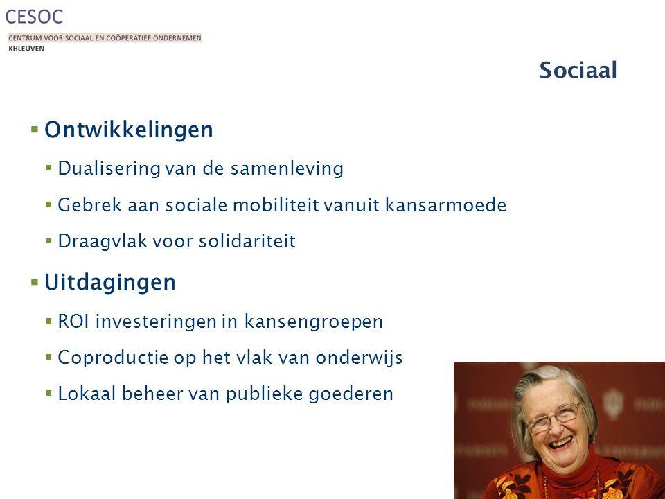 Sociaal  Ontwikkelingen  Dualisering van de samenleving  Gebrek aan sociale mobiliteit vanuit kansarmoede  Draagvlak voor solidariteit  Uitdagingen  ROI investeringen in kansengroepen  Coproductie op het vlak van onderwijs  Lokaal beheer van publieke goederen