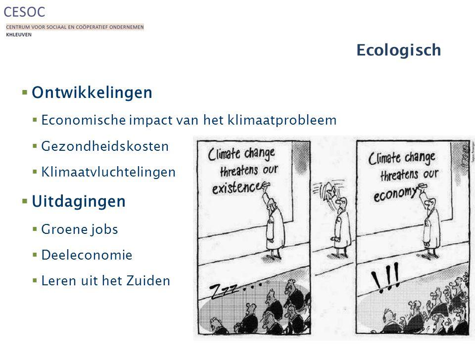 Ecologisch  Ontwikkelingen  Economische impact van het klimaatprobleem  Gezondheidskosten  Klimaatvluchtelingen  Uitdagingen  Groene jobs  Deeleconomie  Leren uit het Zuiden