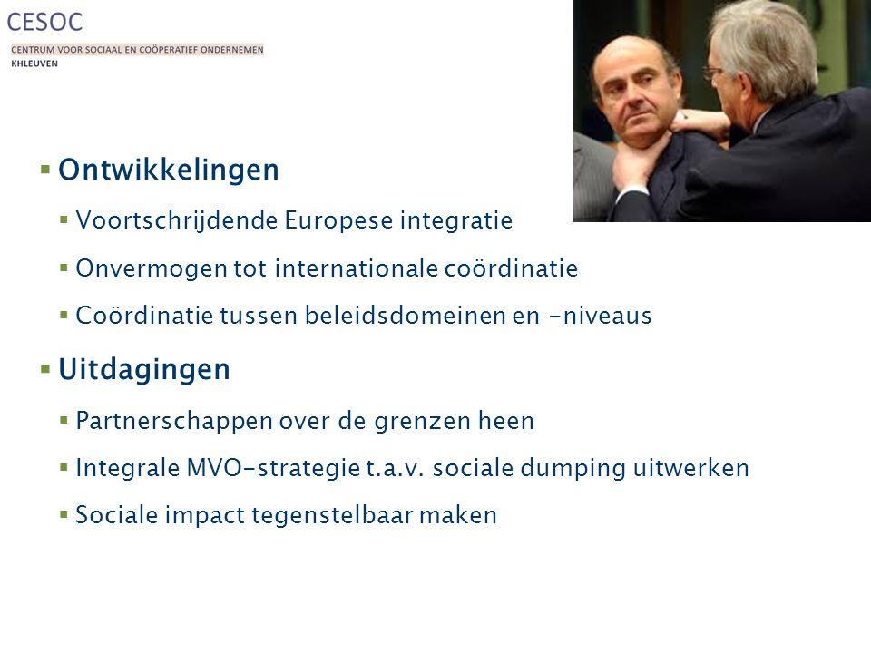 Politiek  Ontwikkelingen  Voortschrijdende Europese integratie  Onvermogen tot internationale coördinatie  Coördinatie tussen beleidsdomeinen en -niveaus  Uitdagingen  Partnerschappen over de grenzen heen  Integrale MVO-strategie t.a.v.