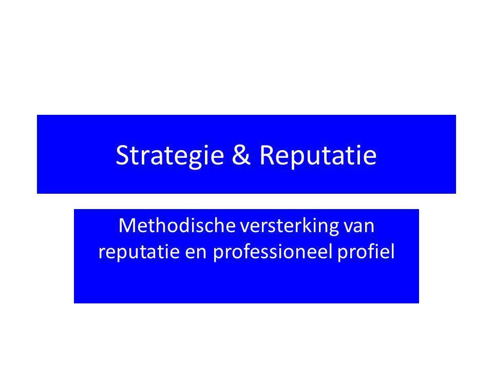 Reputatie-management Statuscheck Potentieel Bedreigingen Ambities Strategie  Reflectie op reputatie  Onderscheidend zijn.