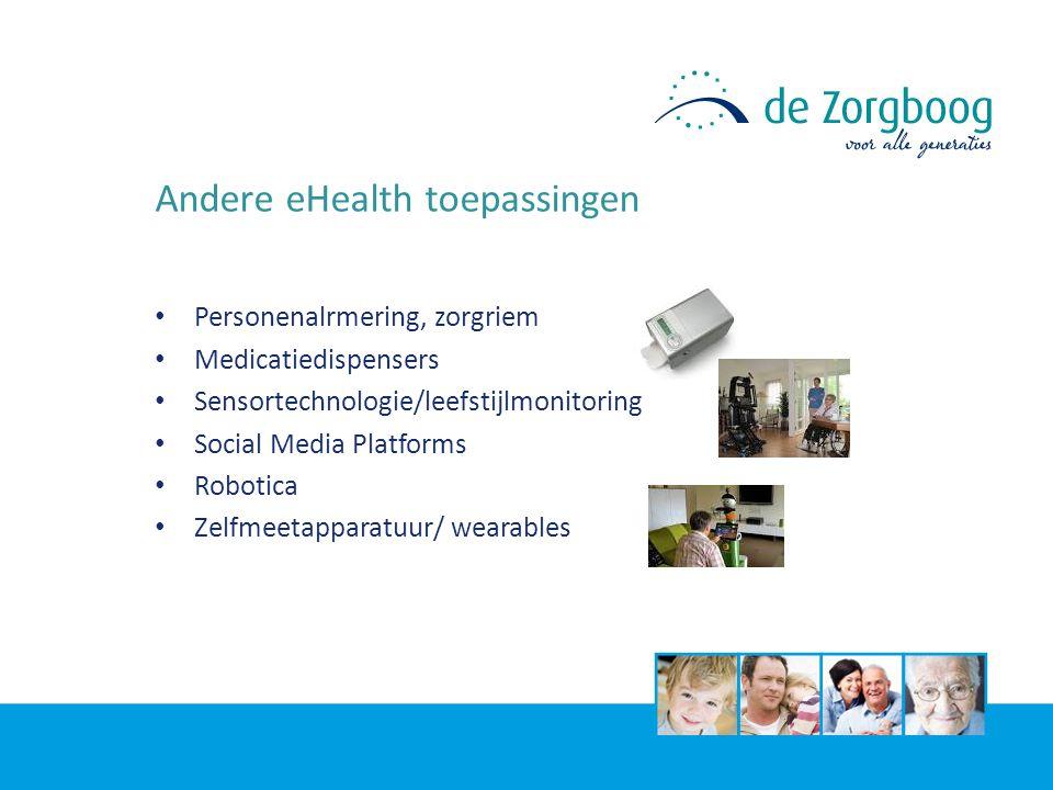 Andere eHealth toepassingen Personenalrmering, zorgriem Medicatiedispensers Sensortechnologie/leefstijlmonitoring Social Media Platforms Robotica Zelfmeetapparatuur/ wearables