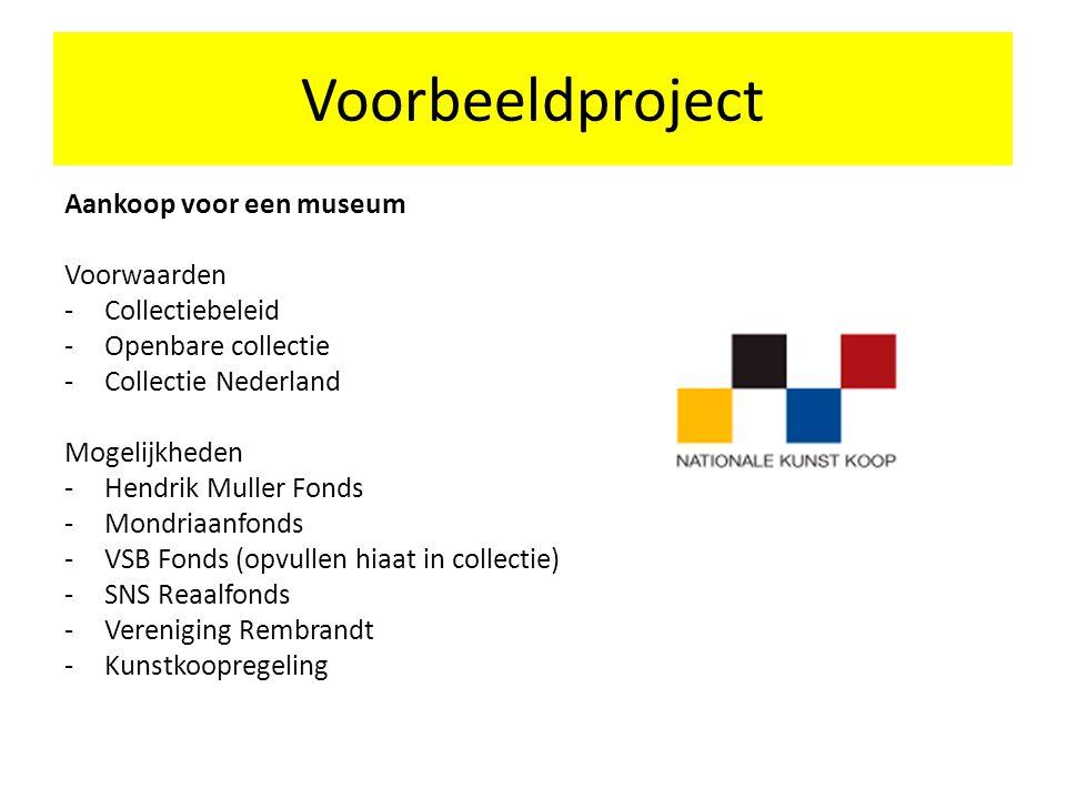 Aankoop voor een museum Voorwaarden -Collectiebeleid -Openbare collectie -Collectie Nederland Mogelijkheden -Hendrik Muller Fonds -Mondriaanfonds -VSB Fonds (opvullen hiaat in collectie) -SNS Reaalfonds -Vereniging Rembrandt -Kunstkoopregeling Voorbeeldproject