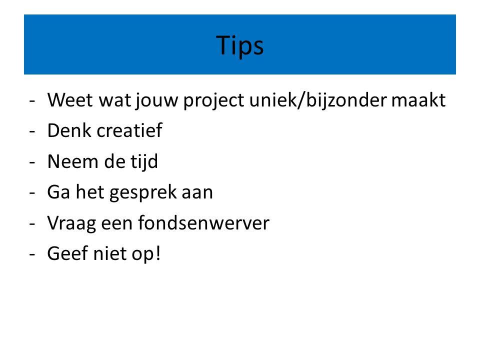 Tips -Weet wat jouw project uniek/bijzonder maakt -Denk creatief -Neem de tijd -Ga het gesprek aan -Vraag een fondsenwerver -Geef niet op!