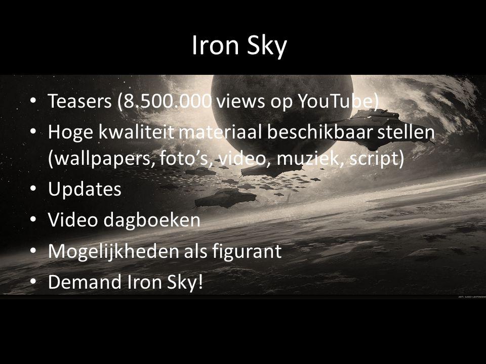Iron Sky Teasers (8.500.000 views op YouTube) Hoge kwaliteit materiaal beschikbaar stellen (wallpapers, foto's, video, muziek, script) Updates Video dagboeken Mogelijkheden als figurant Demand Iron Sky!