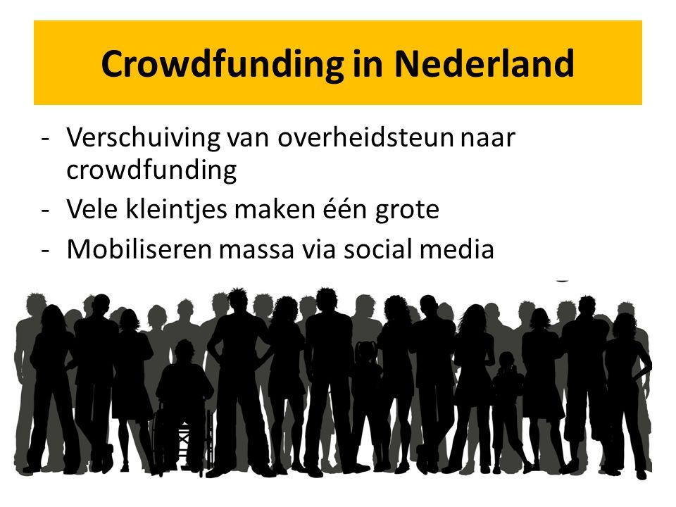 -Verschuiving van overheidsteun naar crowdfunding -Vele kleintjes maken één grote -Mobiliseren massa via social media Crowdfunding in Nederland