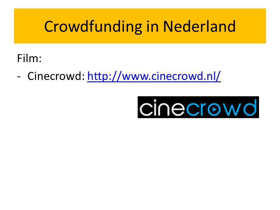 Beeldende kunst: -Voor de kunst: www.voordekunst.nl (projecten)www.voordekunst.nl - Micromecenaat: www.micromecenaat.nl/ (kunstenaars, individueel)www.micromecenaat.nl/ Crowdfunding in Nederland