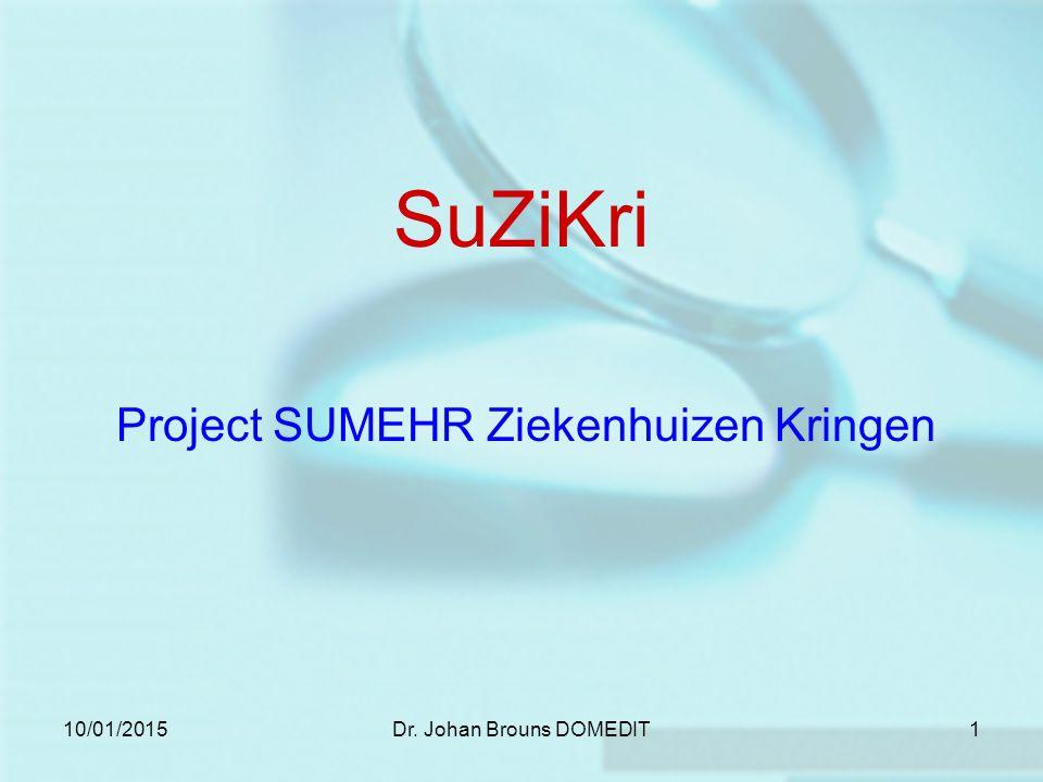 10/01/2015Dr. Johan Brouns DOMEDIT1 SuZiKri Project SUMEHR Ziekenhuizen Kringen