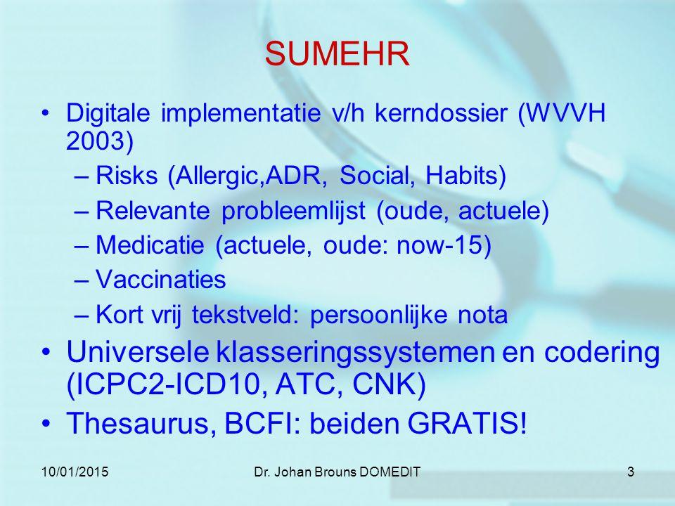 10/01/2015Dr. Johan Brouns DOMEDIT3 SUMEHR Digitale implementatie v/h kerndossier (WVVH 2003) –Risks (Allergic,ADR, Social, Habits) –Relevante problee