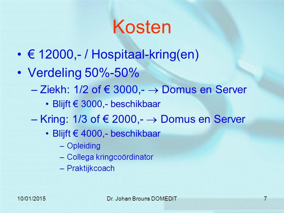 10/01/2015Dr. Johan Brouns DOMEDIT7 Kosten € 12000,- / Hospitaal-kring(en) Verdeling 50%-50% –Ziekh: 1/2 of € 3000,-  Domus en Server Blijft € 3000,-