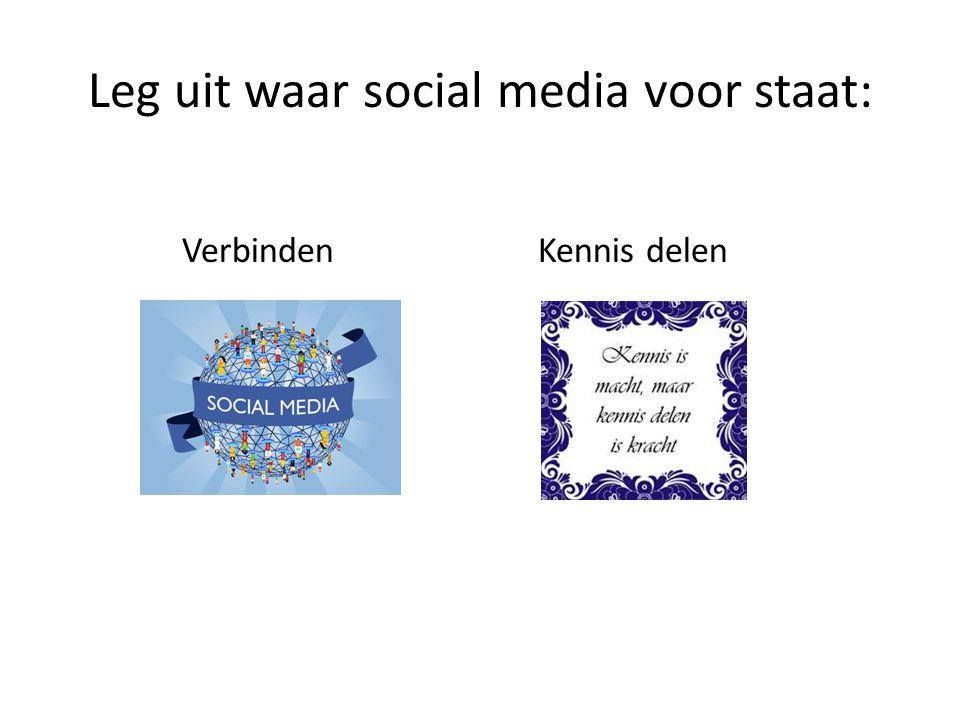Leg uit waar social media voor staat: VerbindenKennis delen
