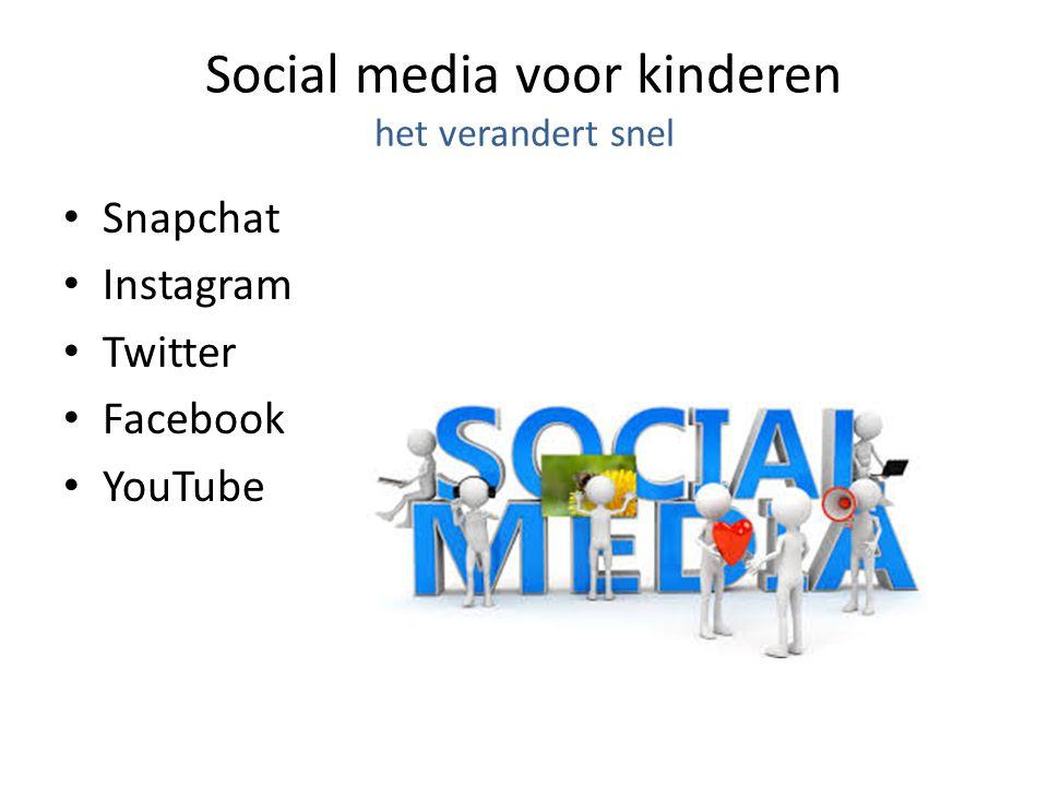 Social media voor kinderen het verandert snel Snapchat Instagram Twitter Facebook YouTube