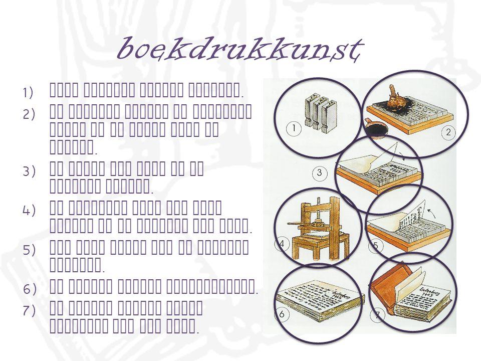 boekdrukkunst 1) Alle letters worden gemaakt.