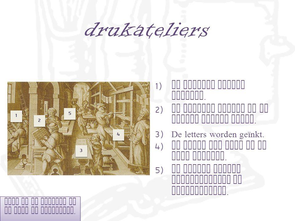 drukateliers 1) De letters worden gekozen.2) De letters worden op de juiste plaats gezet.