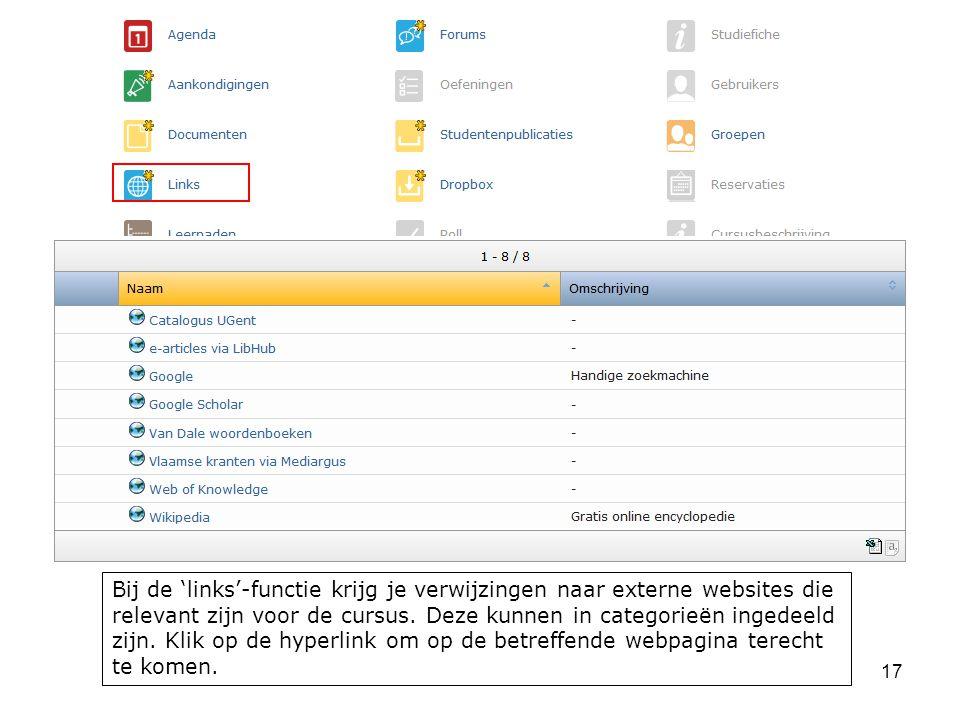 17 Bij de 'links'-functie krijg je verwijzingen naar externe websites die relevant zijn voor de cursus.