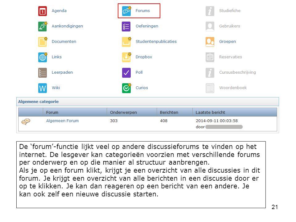 21 De 'forum'-functie lijkt veel op andere discussieforums te vinden op het internet.