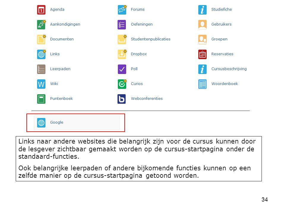 34 Links naar andere websites die belangrijk zijn voor de cursus kunnen door de lesgever zichtbaar gemaakt worden op de cursus-startpagina onder de standaard-functies.