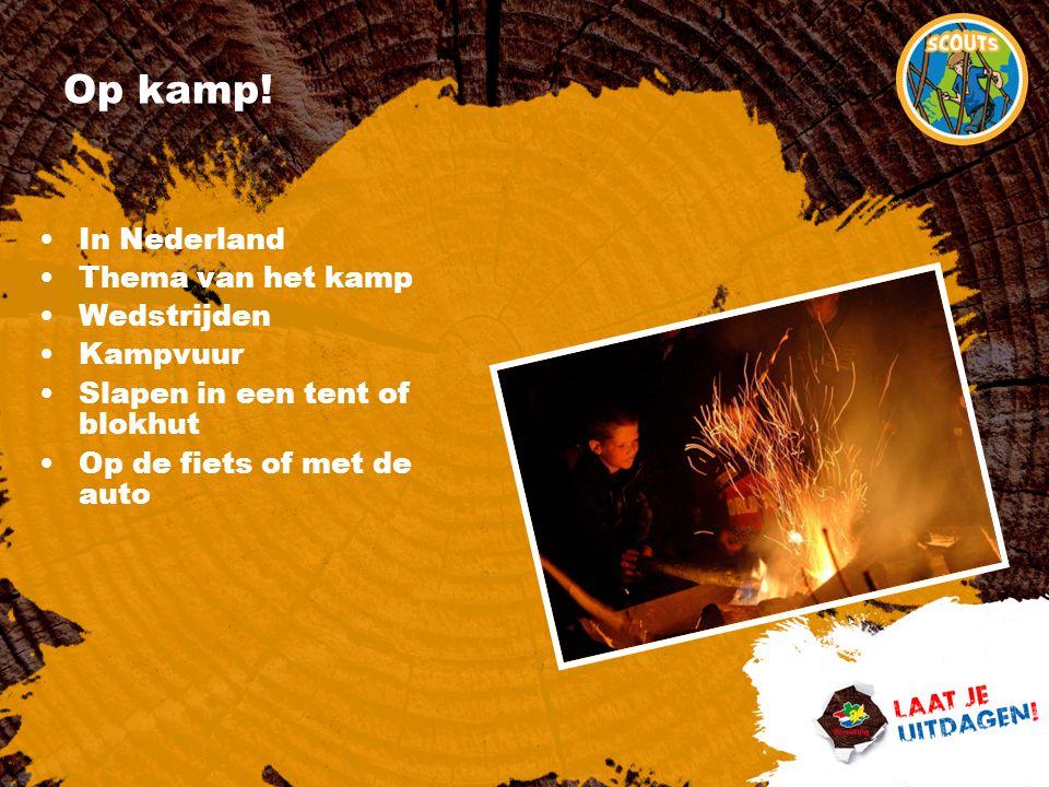Op kamp! In Nederland Thema van het kamp Wedstrijden Kampvuur Slapen in een tent of blokhut Op de fiets of met de auto