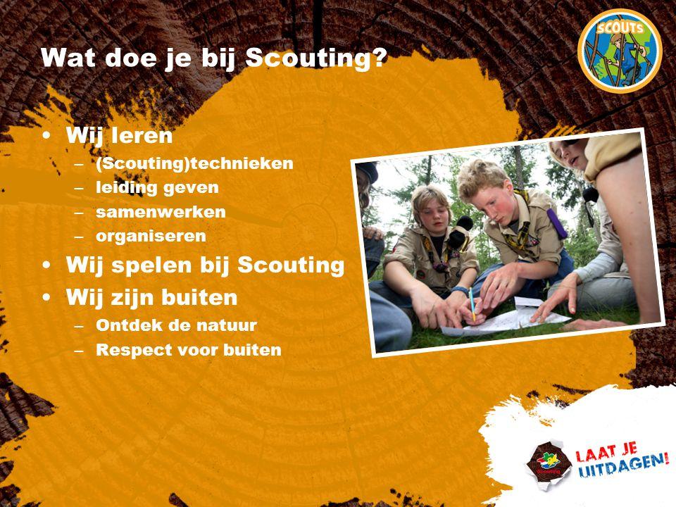 Wat doe je bij Scouting? Wij leren –(Scouting)technieken –leiding geven –samenwerken –organiseren Wij spelen bij Scouting Wij zijn buiten –Ontdek de n
