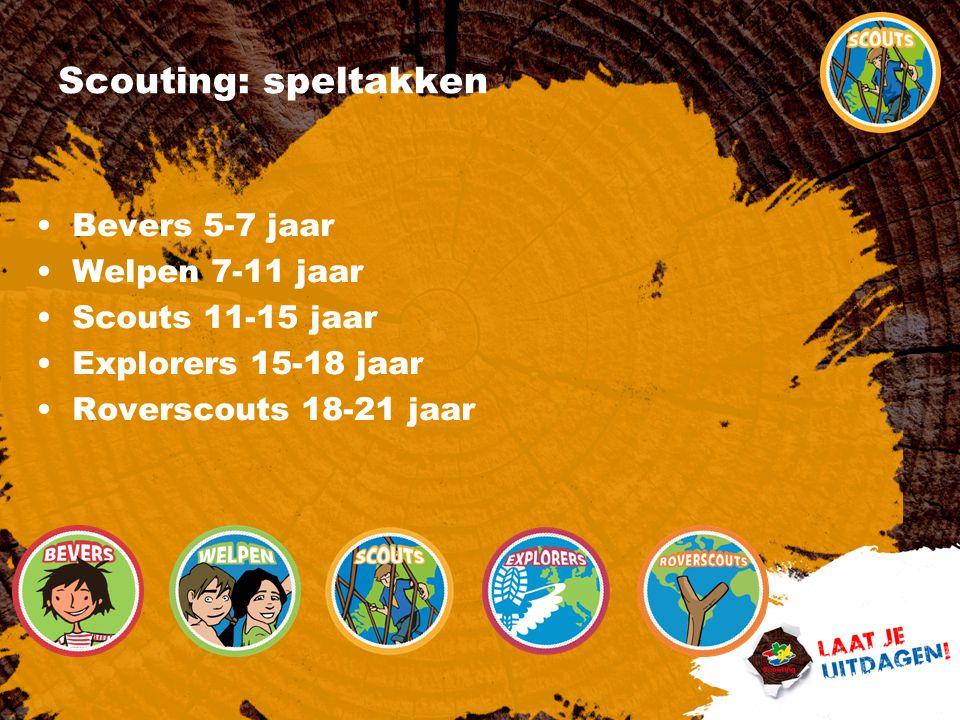 Scouting: speltakken Bevers 5-7 jaar Welpen 7-11 jaar Scouts 11-15 jaar Explorers 15-18 jaar Roverscouts 18-21 jaar