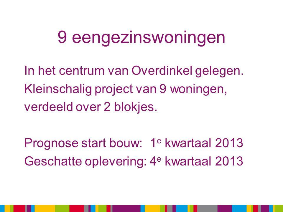 9 eengezinswoningen In het centrum van Overdinkel gelegen. Kleinschalig project van 9 woningen, verdeeld over 2 blokjes. Prognose start bouw: 1 e kwar