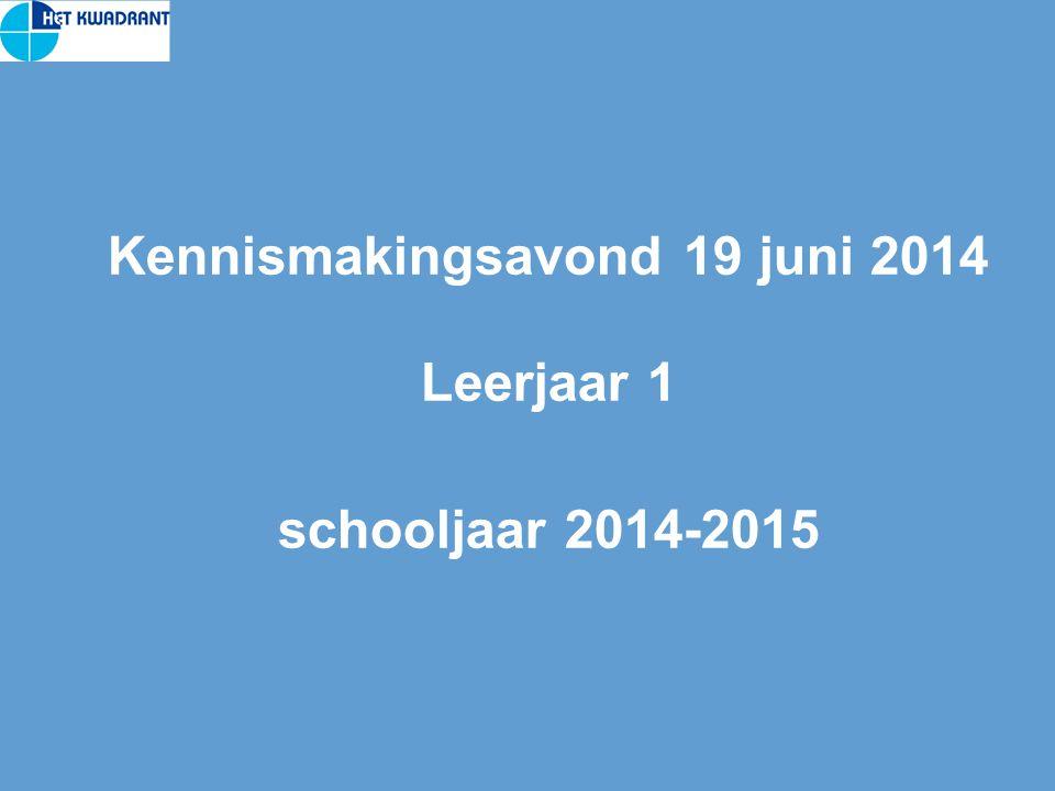Kennismakingsavond 19 juni 2014 Leerjaar 1 schooljaar 2014-2015