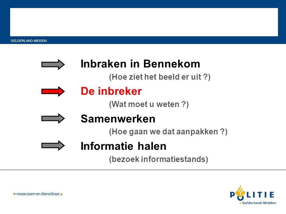 GELDERLAND-MIDDEN Inbraken in Bennekom (Hoe ziet het beeld er uit ?) De inbreker (Wat moet u weten ?) Samenwerken (Hoe gaan we dat aanpakken ?) Inform