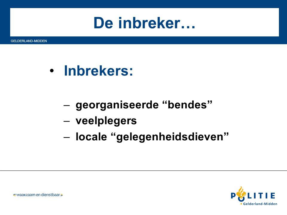 """GELDERLAND-MIDDEN De inbreker… Inbrekers: – georganiseerde """"bendes"""" – veelplegers – locale """"gelegenheidsdieven"""""""