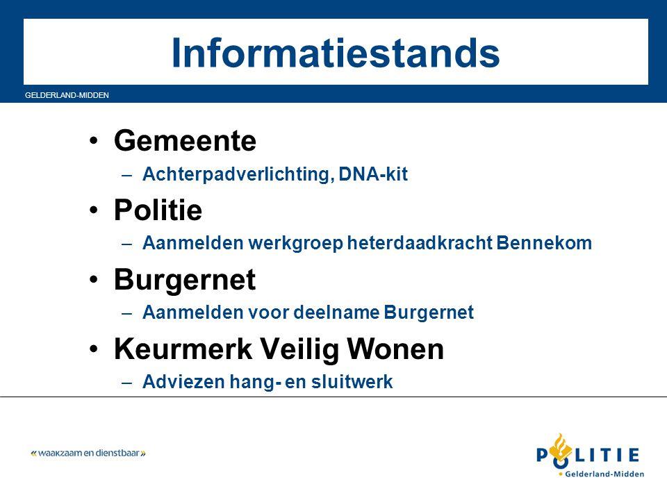 GELDERLAND-MIDDEN Informatiestands Gemeente –Achterpadverlichting, DNA-kit Politie –Aanmelden werkgroep heterdaadkracht Bennekom Burgernet –Aanmelden