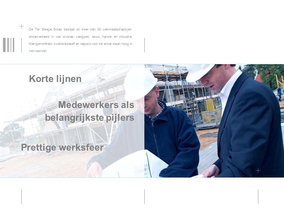 De Ter Steege Groep bestaat uit meer dan 30 werkmaatschappijen, onderverdeeld in vier divisies: vastgoed, bouw, handel en industrie. Klantgerichtheid,