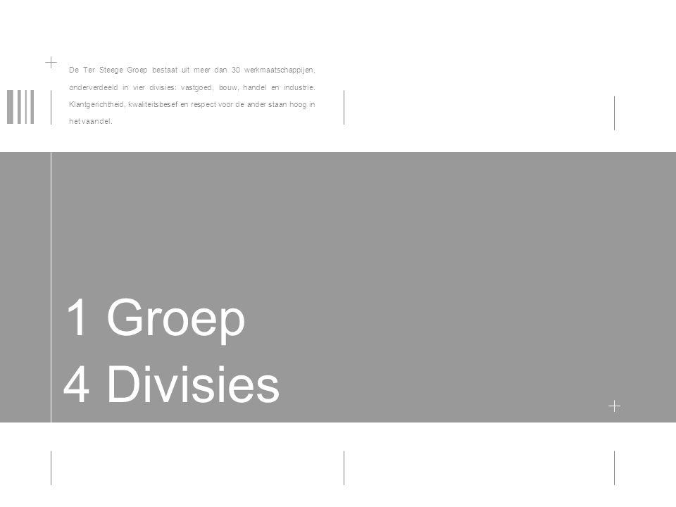 1 Groep 4 Divisies De Ter Steege Groep bestaat uit meer dan 30 werkmaatschappijen, onderverdeeld in vier divisies: vastgoed, bouw, handel en industrie.
