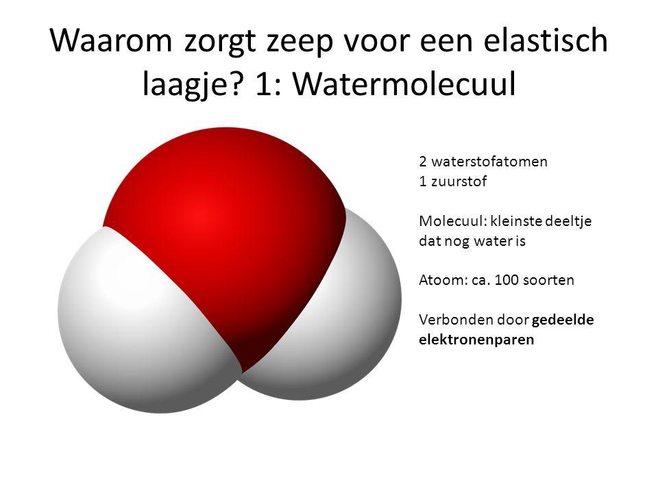 Waarom zorgt zeep voor een elastisch laagje? 1: Watermolecuul 2 waterstofatomen 1 zuurstof Molecuul: kleinste deeltje dat nog water is Atoom: ca. 100