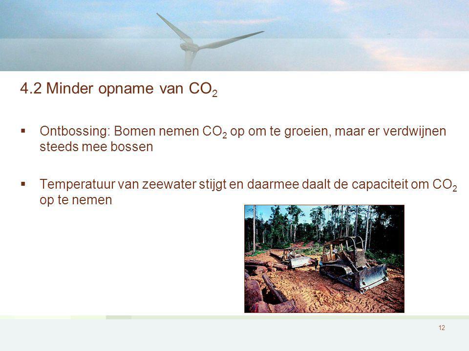 12 4.2 Minder opname van CO 2  Ontbossing: Bomen nemen CO 2 op om te groeien, maar er verdwijnen steeds mee bossen  Temperatuur van zeewater stijgt en daarmee daalt de capaciteit om CO 2 op te nemen