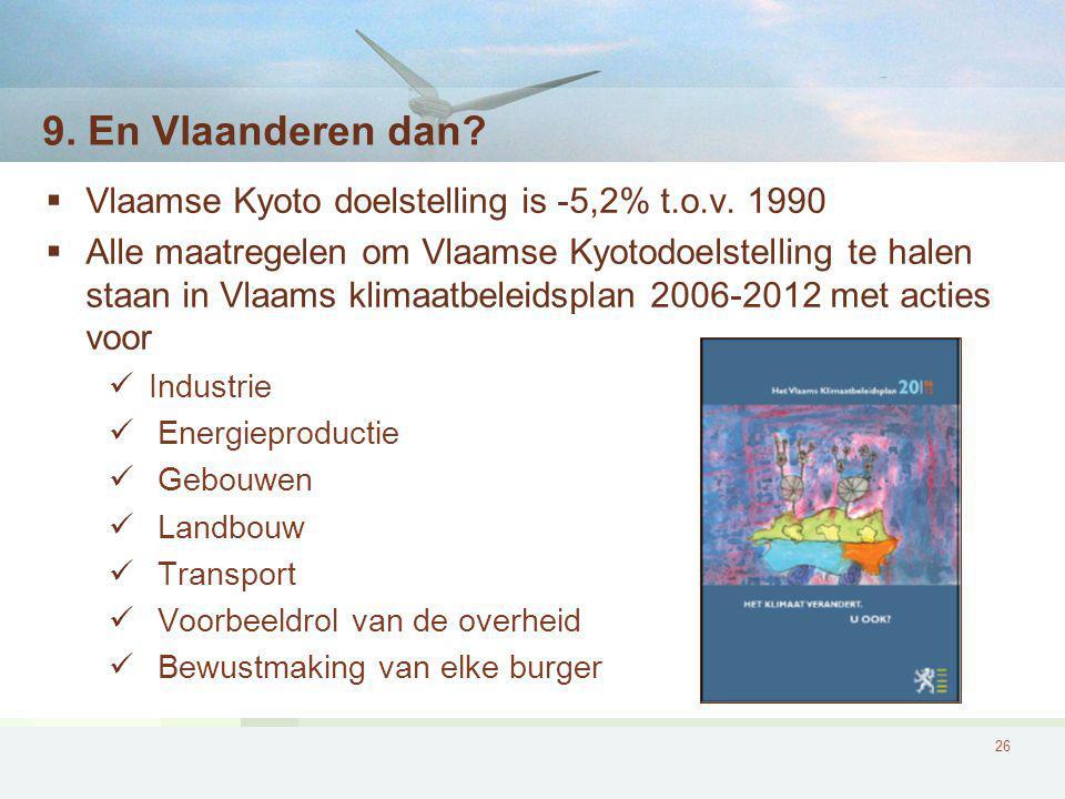 26 9.En Vlaanderen dan.  Vlaamse Kyoto doelstelling is -5,2% t.o.v.