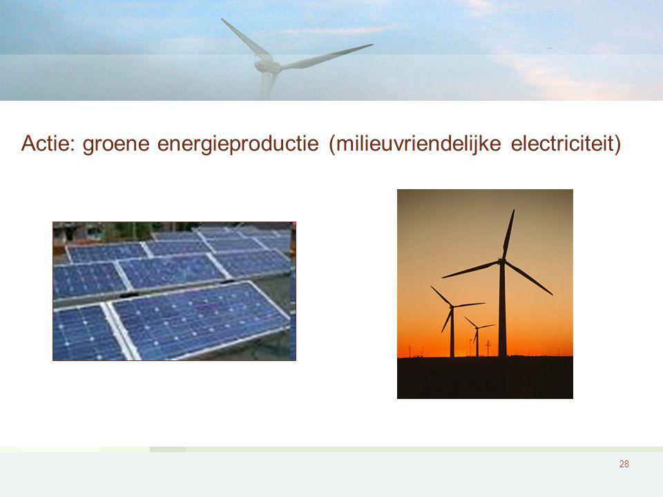 28 Actie: groene energieproductie (milieuvriendelijke electriciteit)