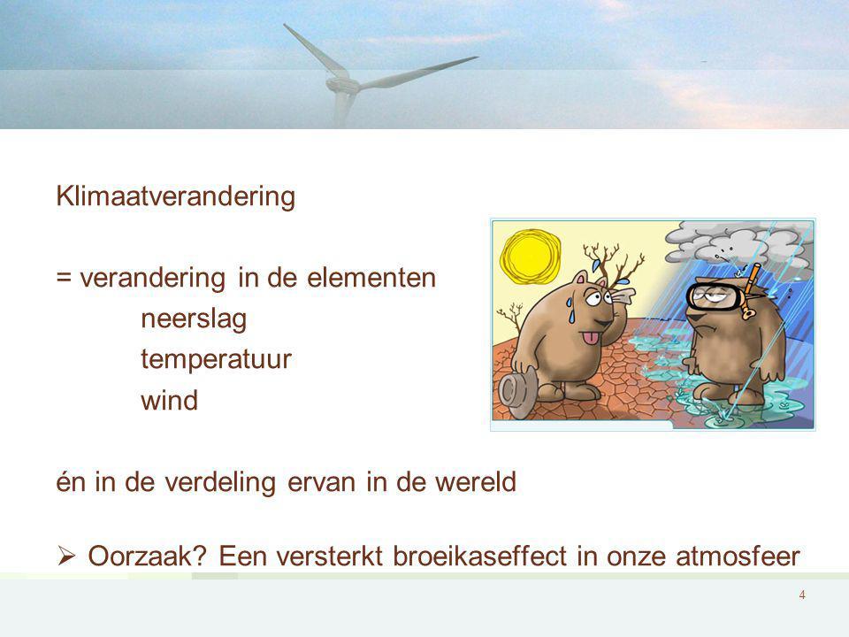 4 Klimaatverandering = verandering in de elementen neerslag temperatuur wind én in de verdeling ervan in de wereld  Oorzaak.