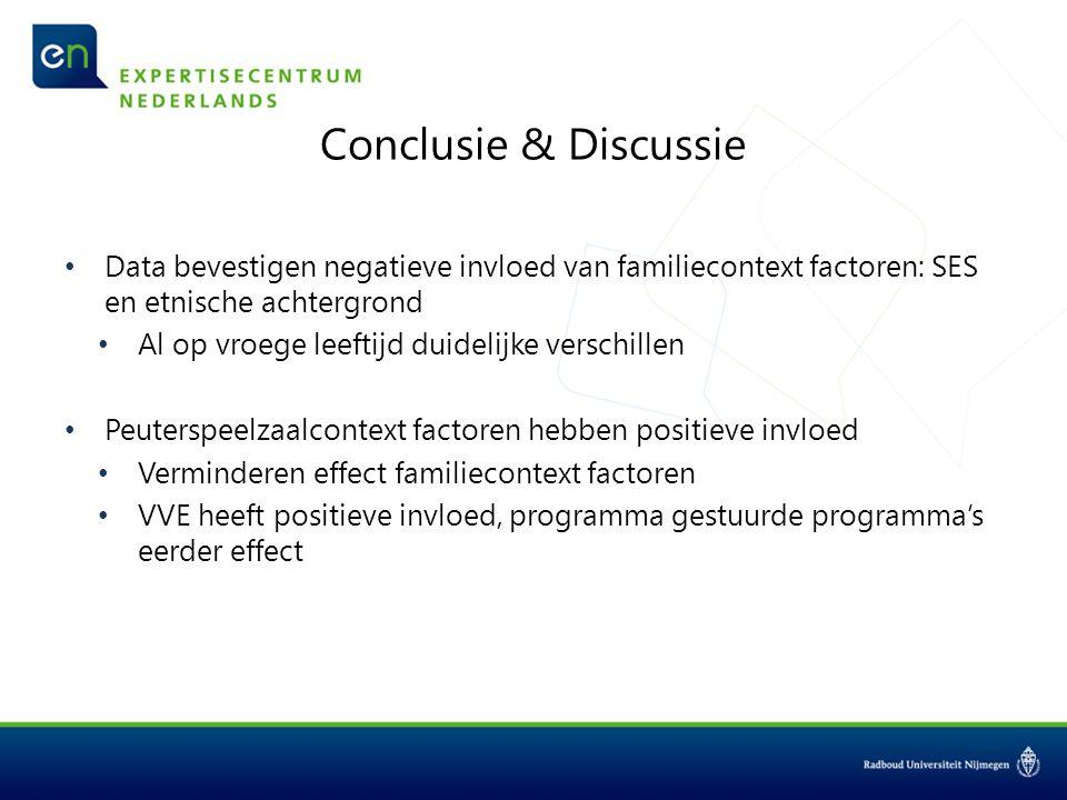 Conclusie & Discussie Data bevestigen negatieve invloed van familiecontext factoren: SES en etnische achtergrond Al op vroege leeftijd duidelijke vers