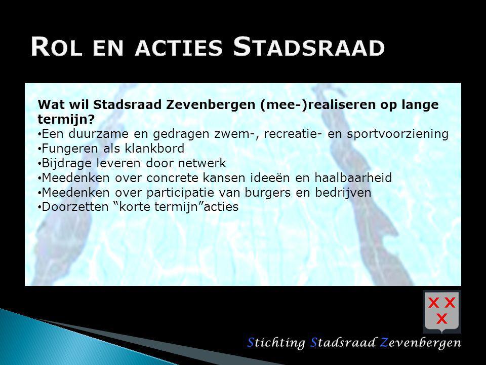 Wat wil Stadsraad Zevenbergen (mee-)realiseren op lange termijn? Een duurzame en gedragen zwem-, recreatie- en sportvoorziening Fungeren als klankbord