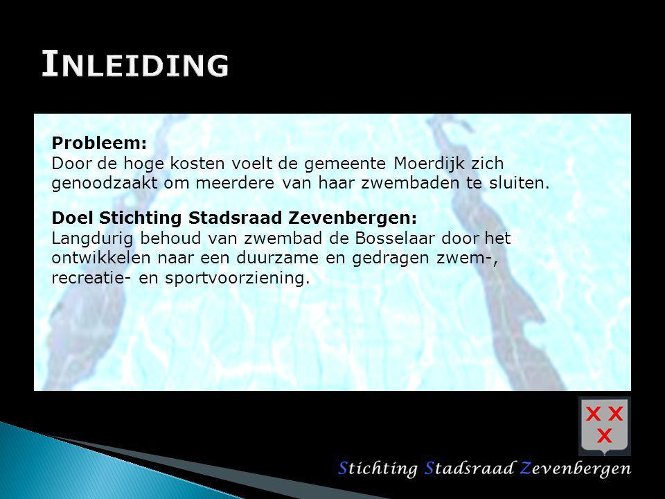 Probleem: Door de hoge kosten voelt de gemeente Moerdijk zich genoodzaakt om meerdere van haar zwembaden te sluiten. Doel Stichting Stadsraad Zevenber