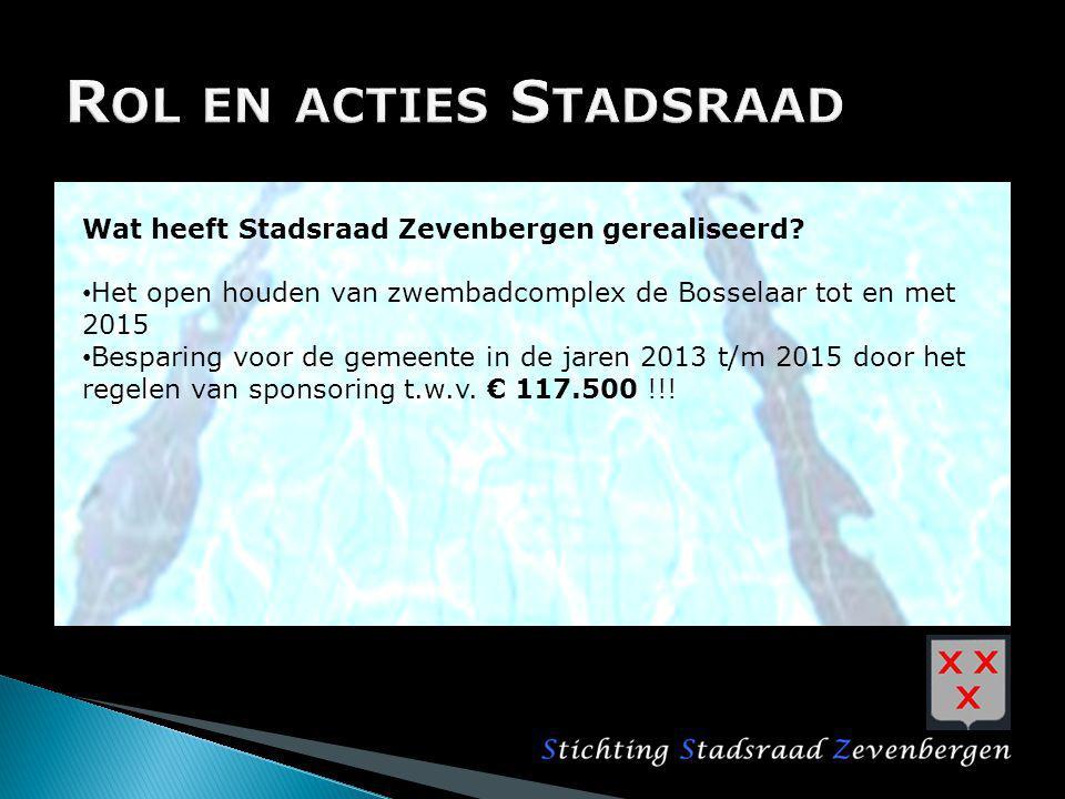 Wat heeft Stadsraad Zevenbergen gerealiseerd? Het open houden van zwembadcomplex de Bosselaar tot en met 2015 Besparing voor de gemeente in de jaren 2