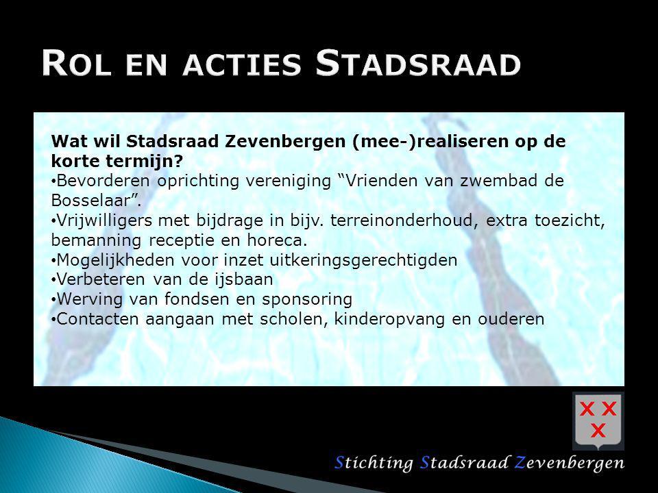 """Wat wil Stadsraad Zevenbergen (mee-)realiseren op de korte termijn? Bevorderen oprichting vereniging """"Vrienden van zwembad de Bosselaar"""". Vrijwilliger"""