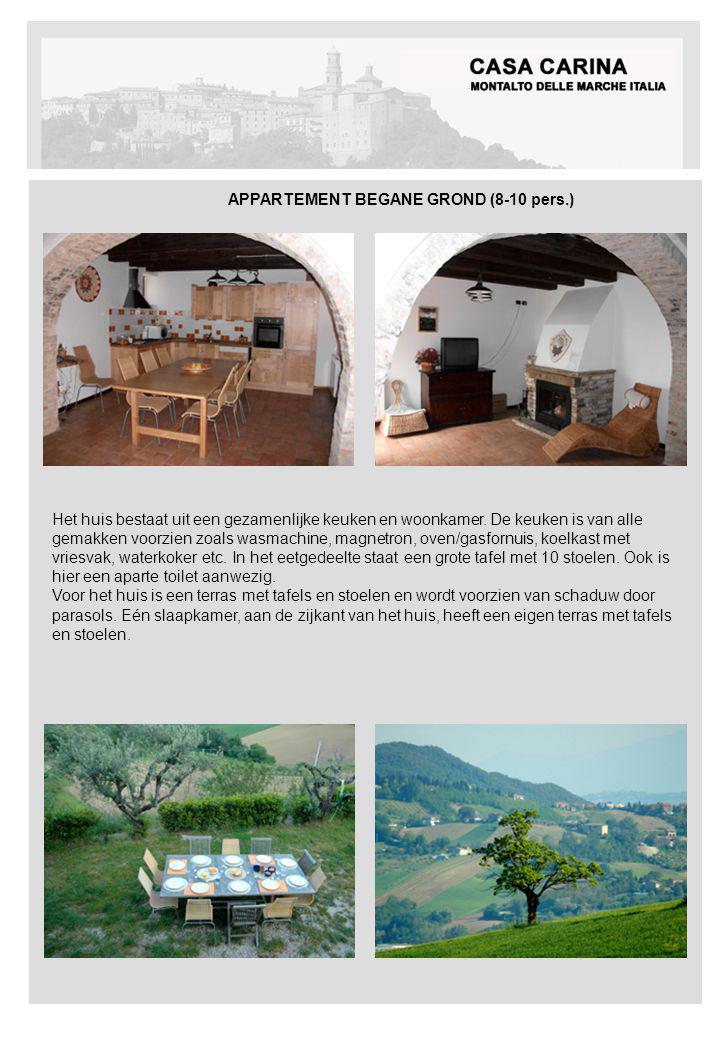 APPARTEMENT BEGANE GROND (8-10 pers.) Het huis bestaat uit een gezamenlijke keuken en woonkamer.
