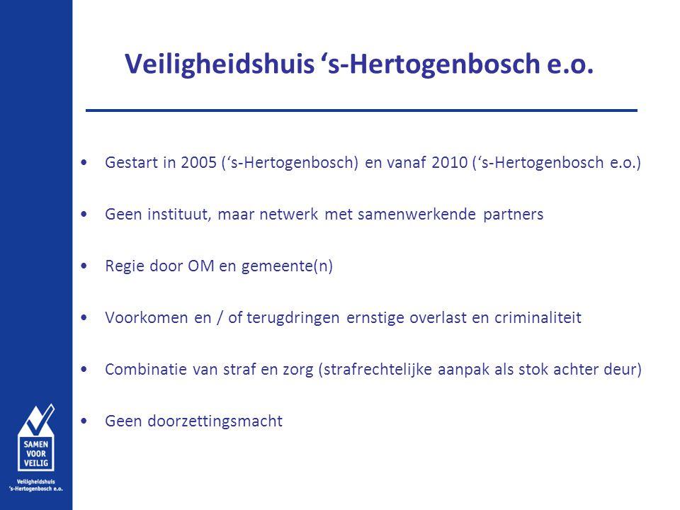Veiligheidshuis 's-Hertogenbosch e.o. Gestart in 2005 ('s-Hertogenbosch) en vanaf 2010 ('s-Hertogenbosch e.o.) Geen instituut, maar netwerk met samenw