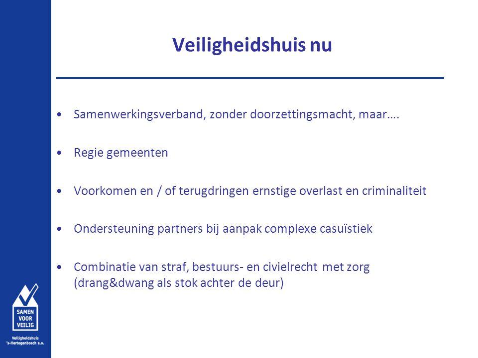 Veiligheidshuis nu Samenwerkingsverband, zonder doorzettingsmacht, maar…. Regie gemeenten Voorkomen en / of terugdringen ernstige overlast en criminal
