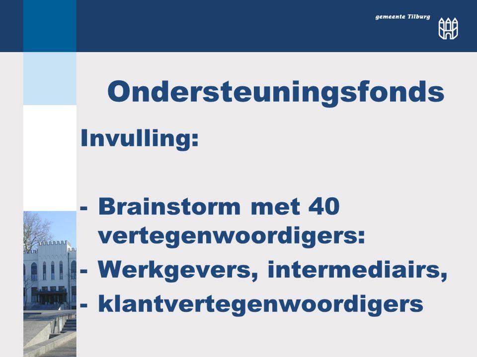 Ondersteuningsfonds Invulling: -Brainstorm met 40 vertegenwoordigers: -Werkgevers, intermediairs, -klantvertegenwoordigers