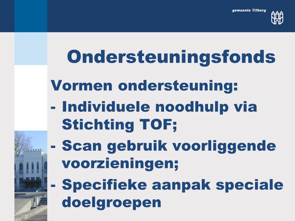 Ondersteuningsfonds Vormen ondersteuning: -Individuele noodhulp via Stichting TOF; -Scan gebruik voorliggende voorzieningen; -Specifieke aanpak specia