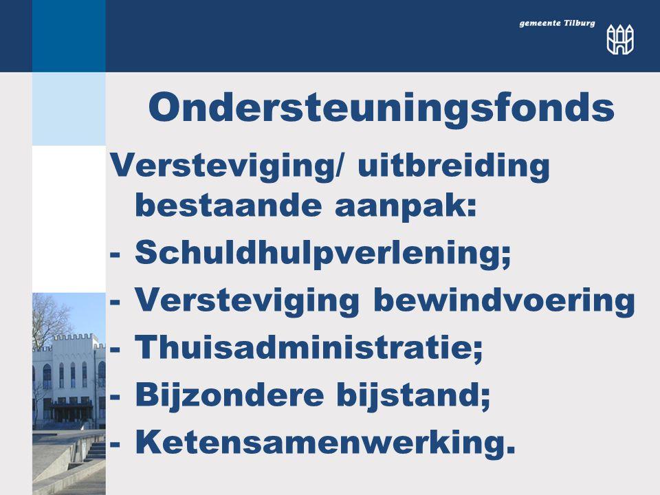 Ondersteuningsfonds Versteviging/ uitbreiding bestaande aanpak: -Schuldhulpverlening; -Versteviging bewindvoering -Thuisadministratie; -Bijzondere bij