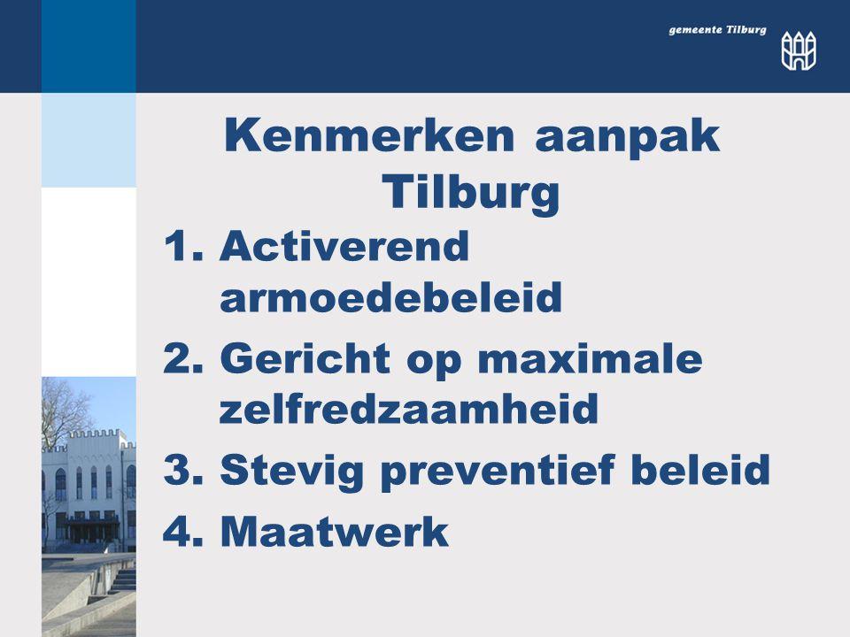 Kenmerken aanpak Tilburg 1.Activerend armoedebeleid 2.Gericht op maximale zelfredzaamheid 3.Stevig preventief beleid 4.Maatwerk