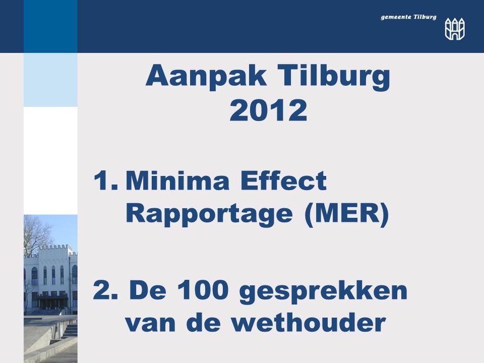 Aanpak Tilburg 2012 1.Minima Effect Rapportage (MER) 2. De 100 gesprekken van de wethouder